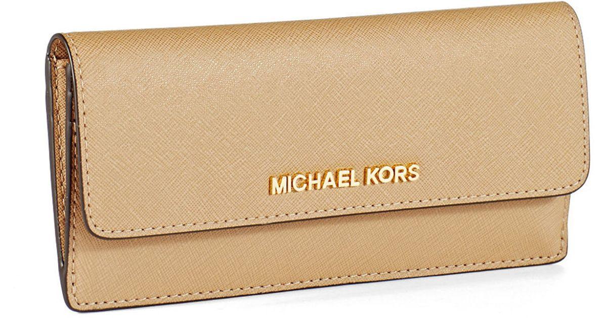 4d640d420777 Michael Kors Navy Blue JET SET Travel Wristlet Wallet Lyst - Michael  Michael Kors Jet Set Leather Travel Flat Wallet in Natural ...