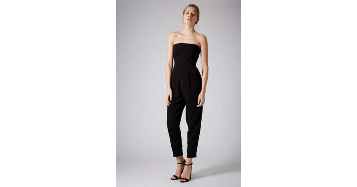 314ef8c167b5 TOPSHOP Tailored Bandeau Jumpsuit in Black - Lyst