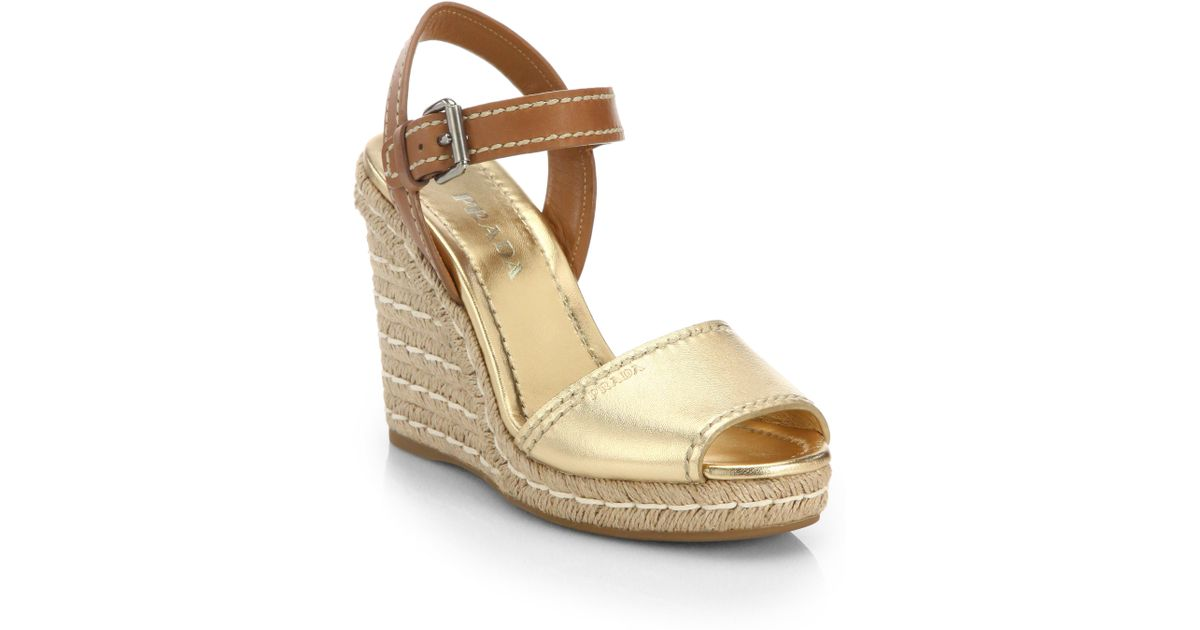 86fd5312896 Lyst - Prada Leather   Metallic Leather Espadrille Wedge Sandals in Natural