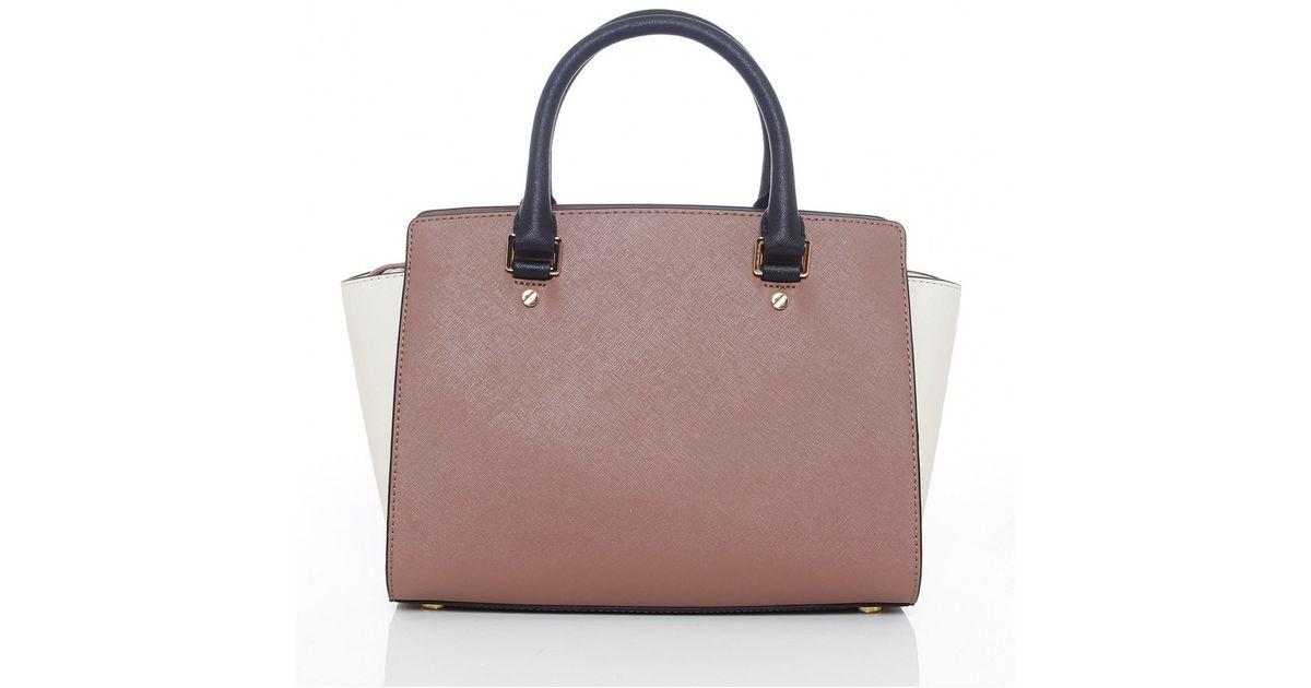 ec35ffa2ad ... greece lyst michael michael kors selma colour block leather satchel  a11fd 37e99