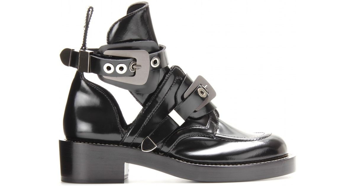 a53fba4fbe76 Lyst - Balenciaga Derby Leather Ankle Boots with Cutout Detail in Black