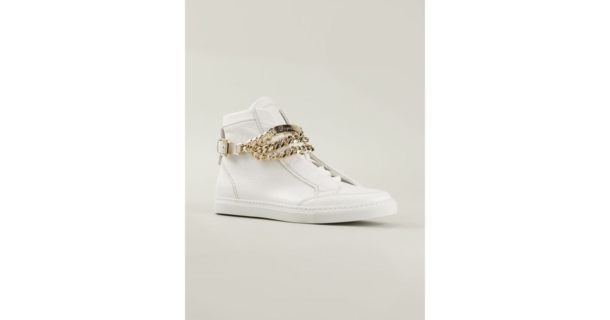 a5f0871c789 Lyst - DSquared² Chain Detail Hi-Top Sneakers in White