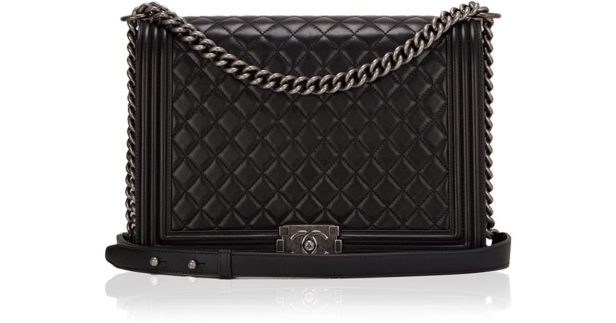 bbb0e2967760aa Madison Avenue Couture Chanel Black Quilted Lambskin Large Boy Bag in Black  - Lyst