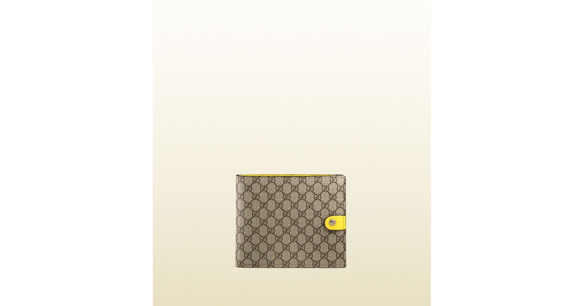 d2af56a3961c51 Gucci Micro Gg Supreme Canvas Bi-fold Wallet in Natural for Men - Lyst