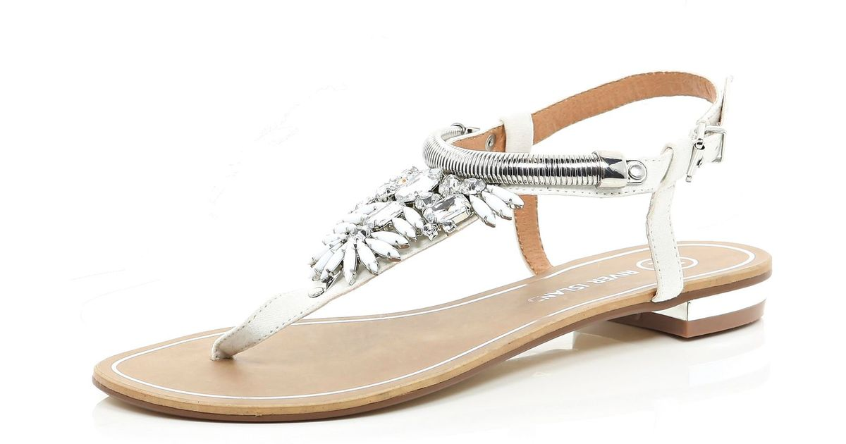 1a5284536 River Island White Gem Stone Embellished T Bar Sandals in White - Lyst