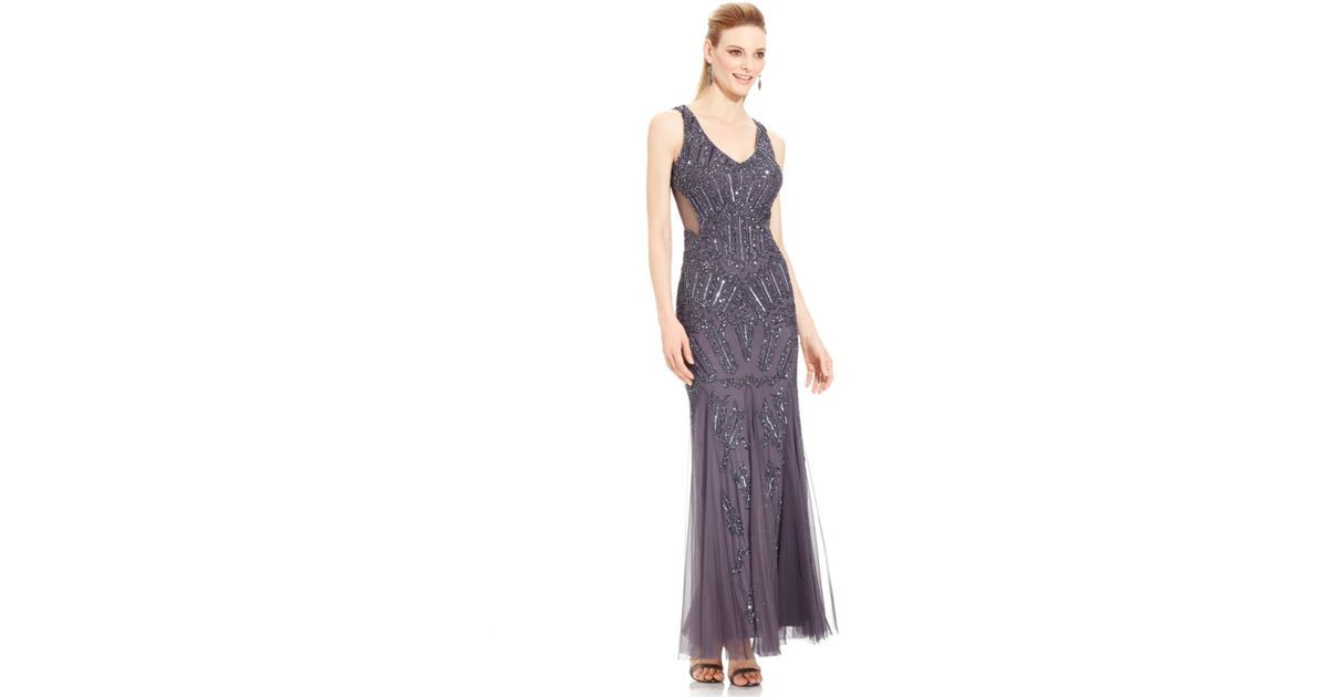 Lyst - Adrianna Papell Sleeveless Beaded Mermaid Gown in Metallic
