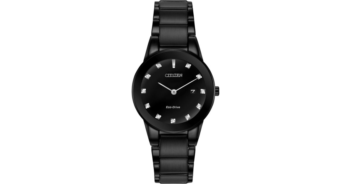 Lyst - Citizen Women s Eco-drive Axiom Diamond Accent Black Ion-plated  Stainless Steel Bracelet Watch 30mm Ga1055-57g - A Macy s Exclusive in Black 2595ba65de