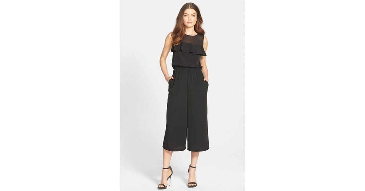 7d5d66e465 Lyst - 1.STATE Ruffle Chiffon Jumpsuit in Black