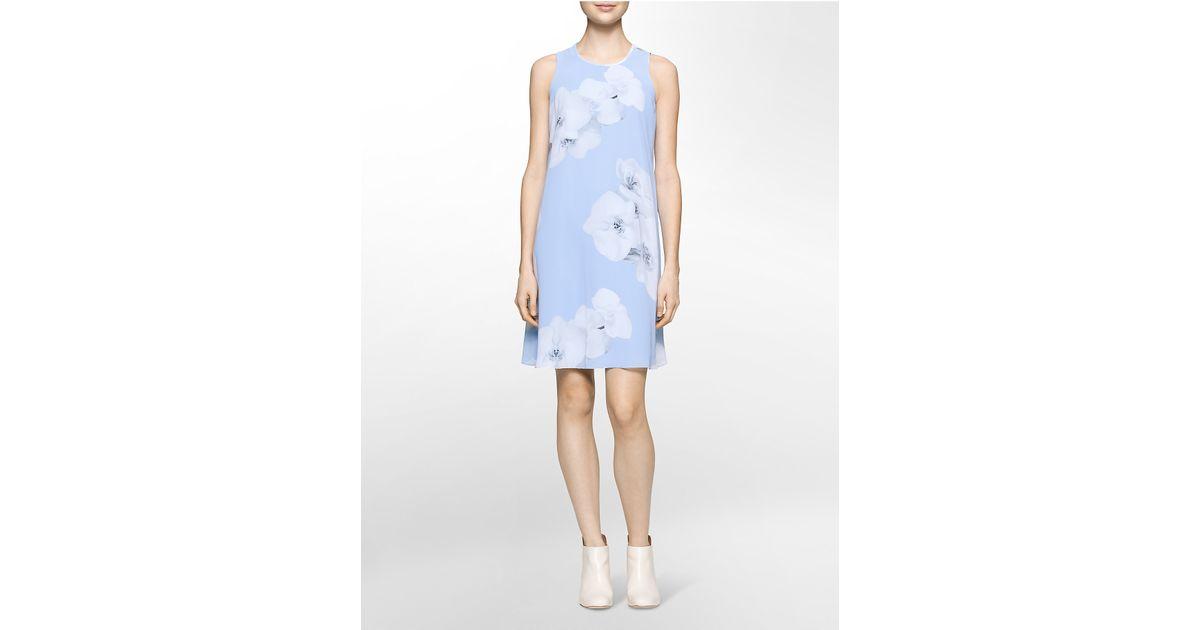 8a8483da6d4c Lyst - Calvin Klein White Label Floral Chiffon Trapeze Dress