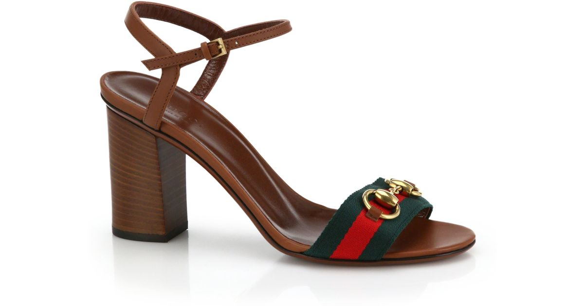 a5ab9ba66550b Lyst - Gucci Horsebit Fabric   Leather Sandals in Brown