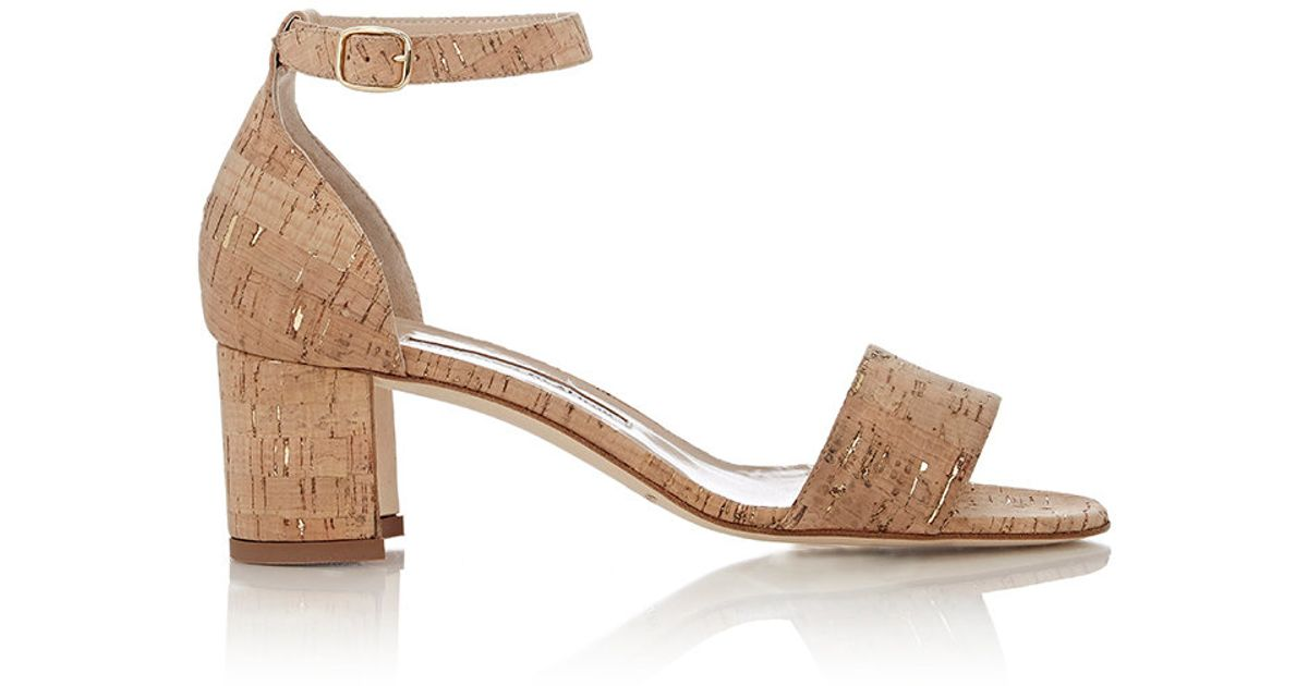a9648fac3358 Lyst - Manolo Blahnik Lauratomod Ankle-Strap Cork Sandals in Natural
