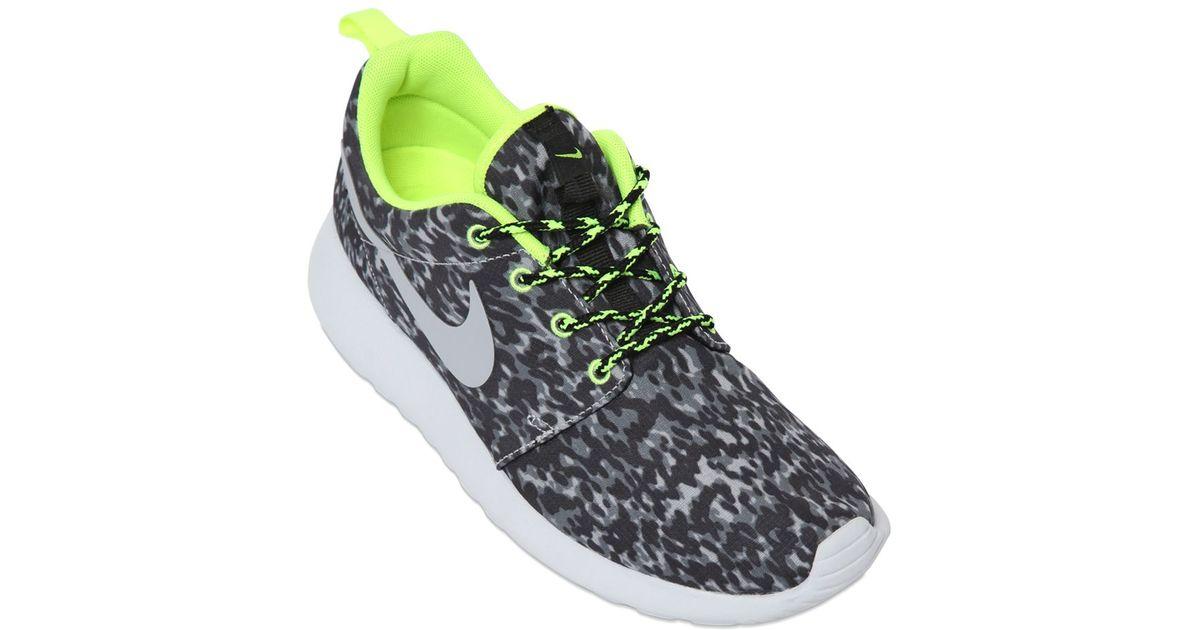 db0f84075aa1 ... Lyst - Nike Roshe Run Leopard Print Running Sneakers in Gray ...