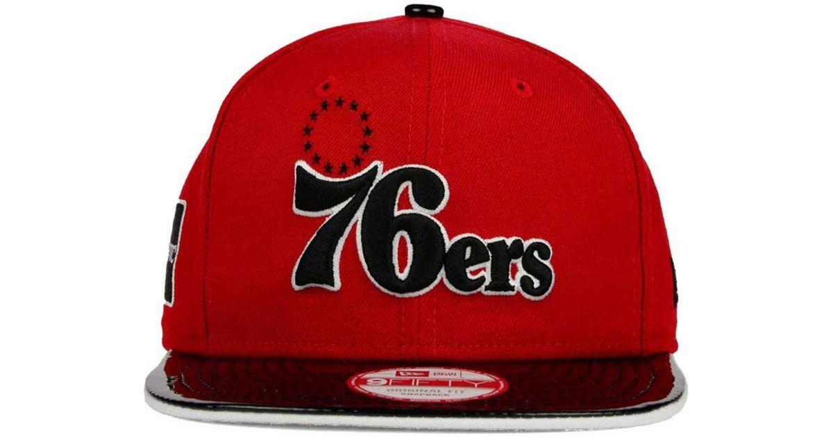 quality design 3e014 f1026 ... wholesale lyst ktz philadelphia 76ers nba hwc bred hookup 9fifty  snapback cap in red for men