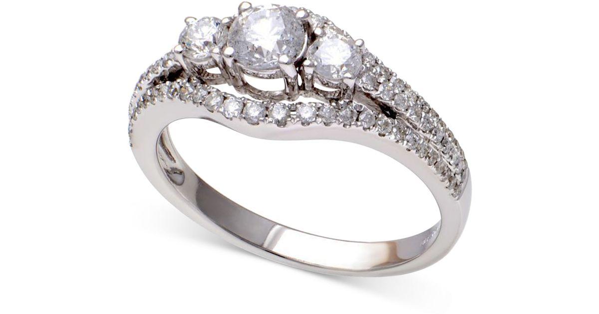 Macy s Diamond Framed Three stone Ring In 14k White Gold in Gold White G