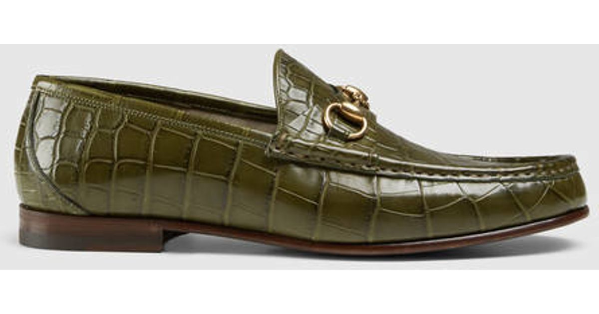 9be2978bb Gucci 1953 Horsebit Crocodile Loafer in Green for Men - Lyst