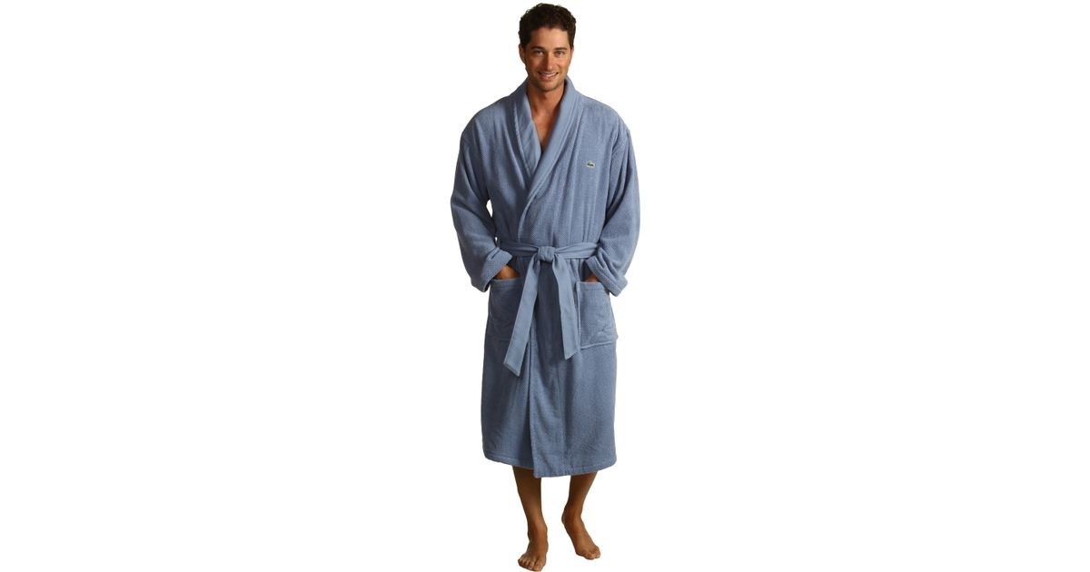 Lyst - Lacoste Textured Robe in Blue for Men