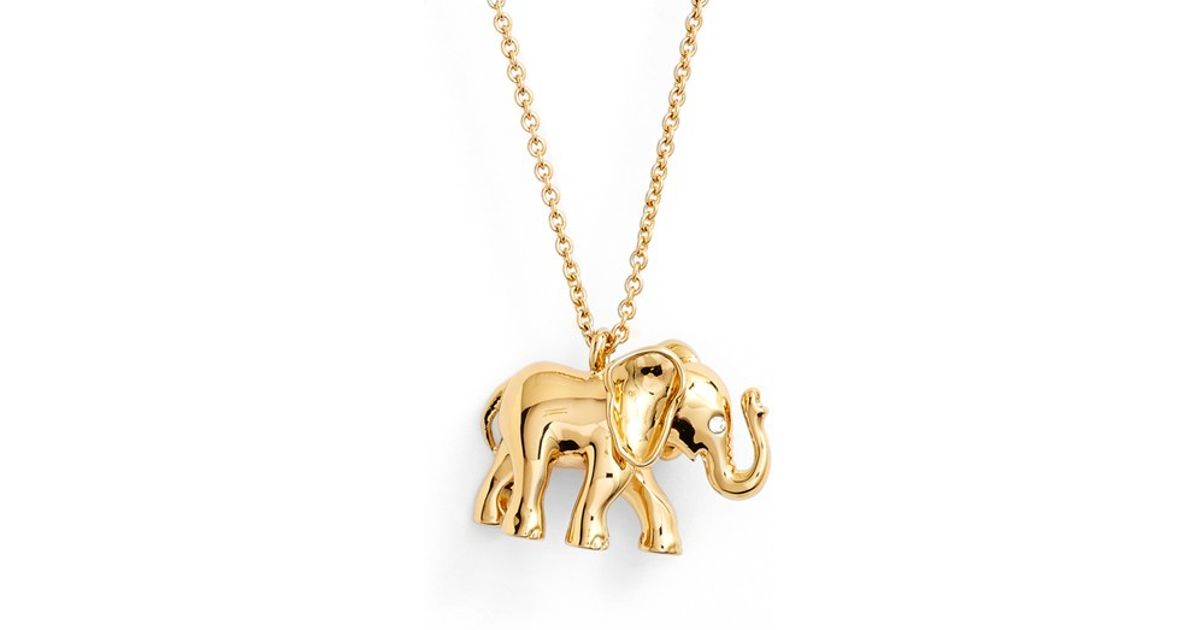 Lyst kate spade new york elephant pendant necklace in metallic aloadofball Gallery