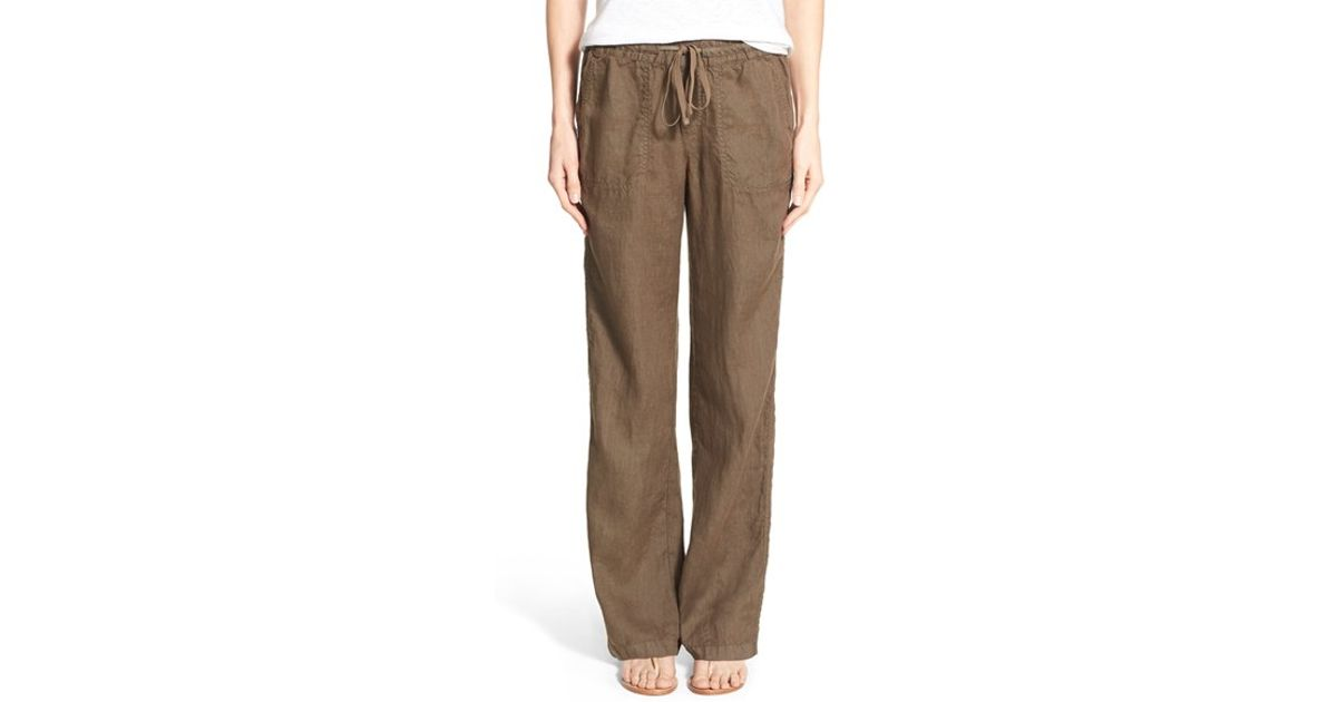 Caslon Drawstring Linen Pants In Green Olive Tarmac Lyst