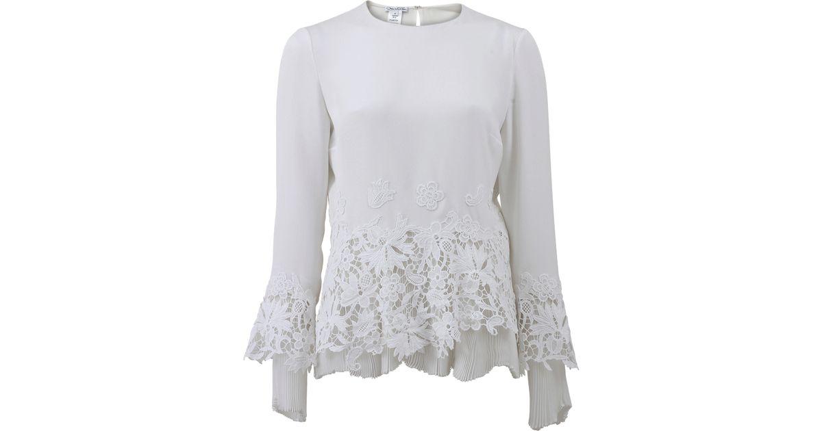 Oscar de la renta lace appliqué blouse in white lyst