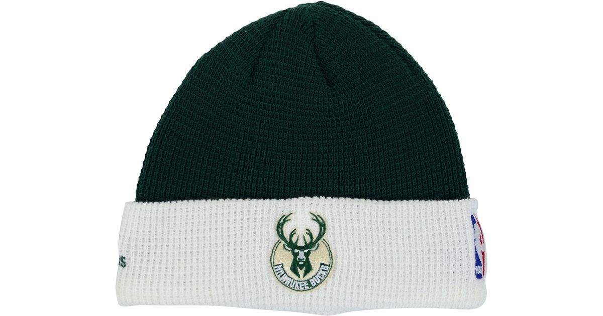 new concept 314e7 34404 ... reduced lyst adidas milwaukee bucks authentic cuffed knit hat in green  for men ba4ac b9f69