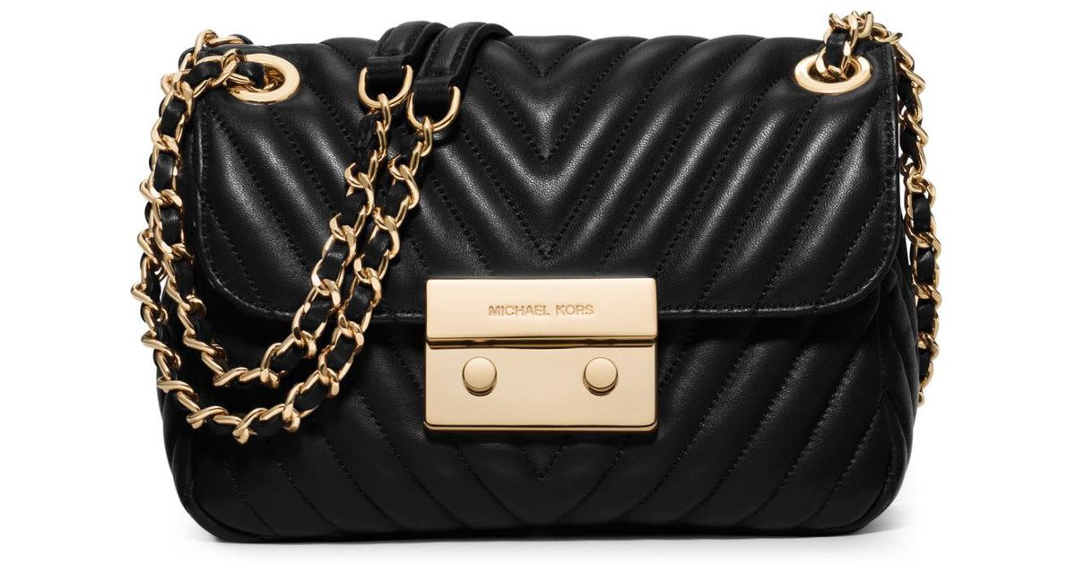 ef7d2a30b697 MICHAEL Michael Kors Sloan Small Quilted Leather Crossbody Bag in Black -  Lyst