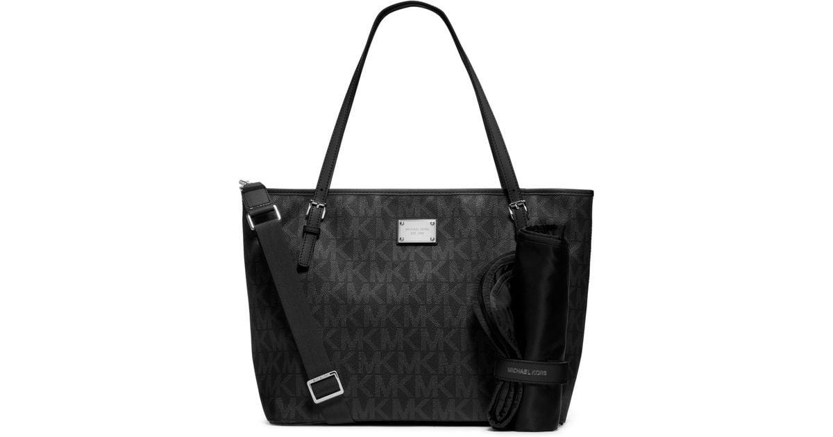 e83db668ad0c Lyst - Michael Kors Jet Set Travel Logo Diaper Bag in Black