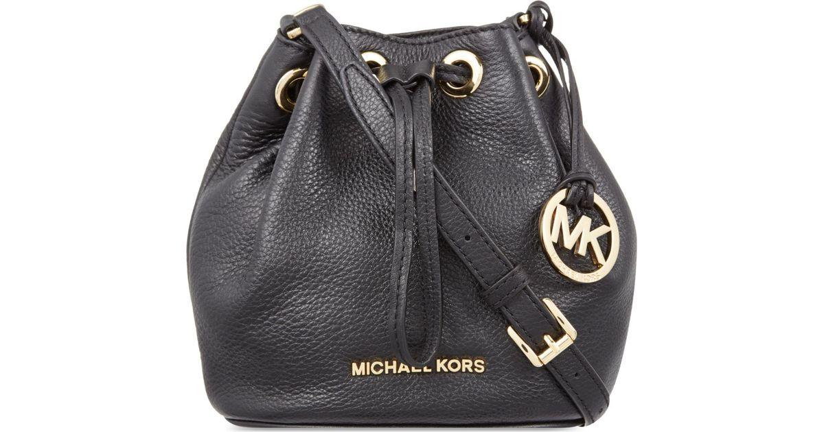 54cf3bf04238 ... closeout michael michael kors jules mini leather drawstring over the  shoulder handbag in black lyst 0822d