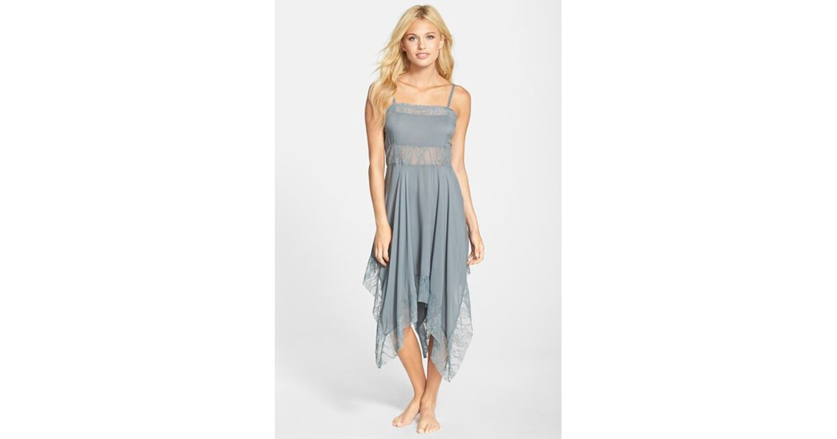 847f41b77551 Free People Dobby Dot Lace Trim Trapeze Slip in Blue - Lyst