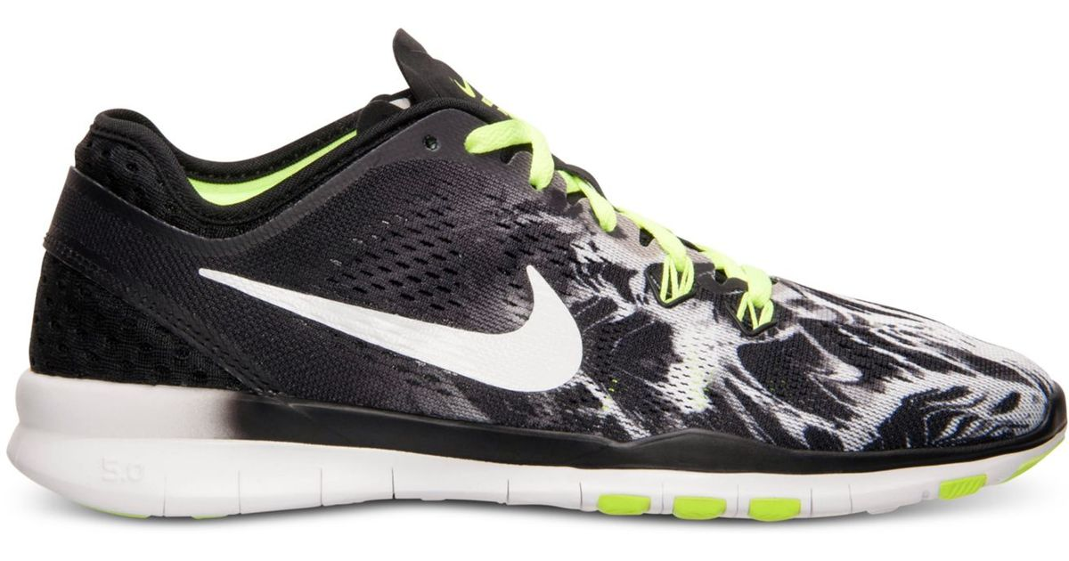 b81b6ca57e17e Lyst - Nike Women s Free 5.0 Tr Fit 5 Print Training Sneakers From Finish  Line in Black