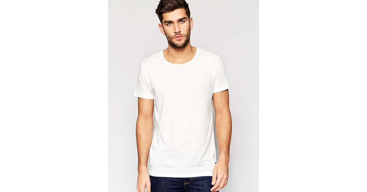 Only Sons Nly Sons Scoop Neck T Shirt In White For Men