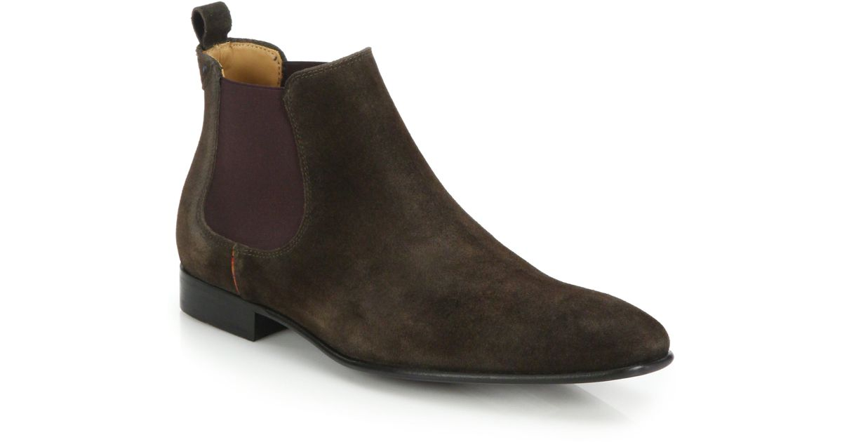 de0f3ef5711a Paul Smith Falconer Suede Chelsea Boots in Brown for Men - Lyst