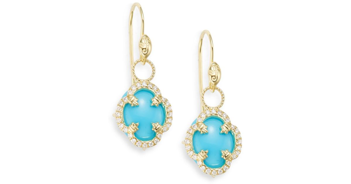 Lyst Jude Frances Turquoise Diamond 18k Yellow Gold Clover Drop Earrings In Blue