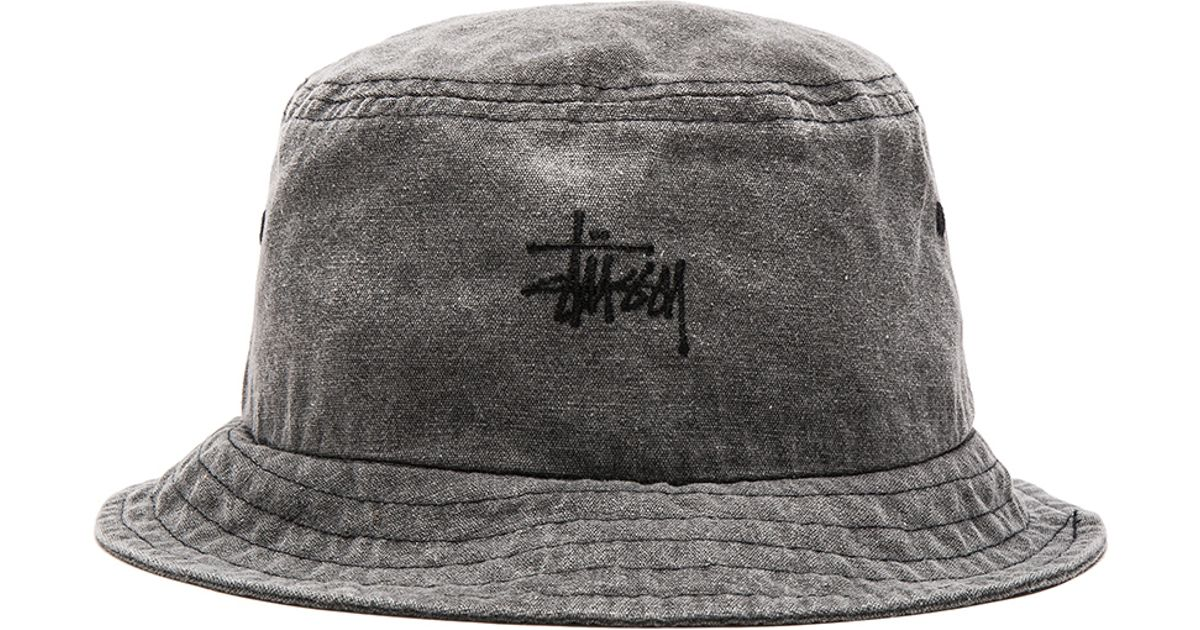 Stussy Smooth Stock Enzyme Wash Bucket Hat in Black for ...
