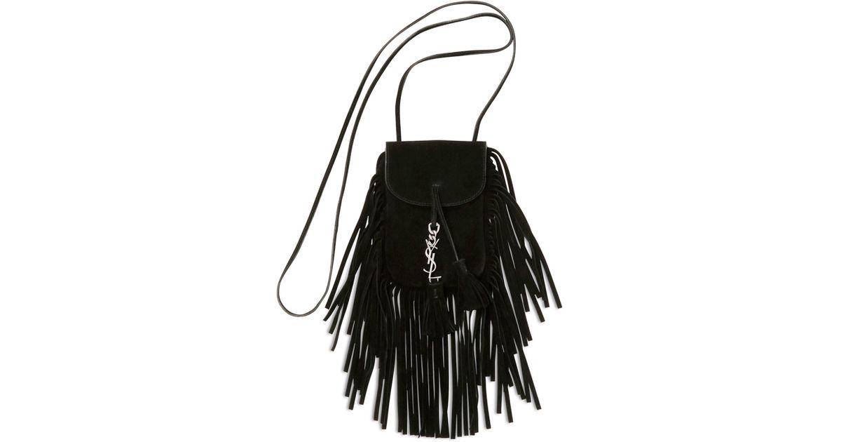 Monogram Small Suede Shoulder Bag W/Chain Fringe, Black