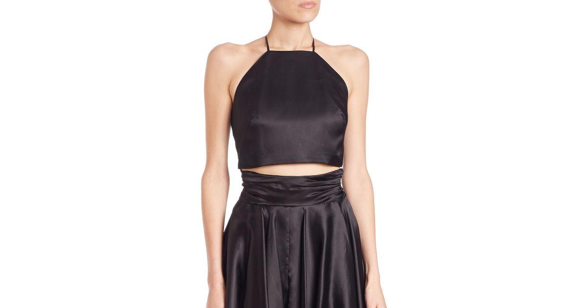da6802bf759e0e Lyst - MILLY Audrey Silk Organza Cropped Top in Black