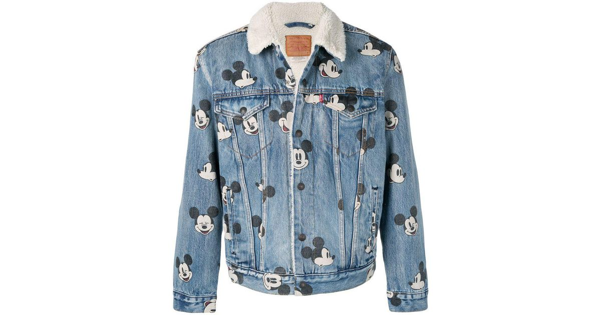 721e713386c Levi's Mickey Mouse Print Denim Borg Jacket In Light Wash in Blue for Men -  Save 41% - Lyst