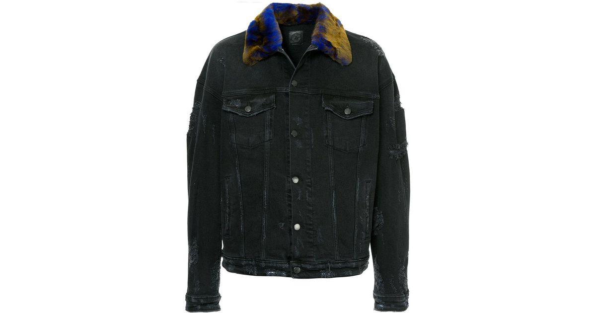 10b81e0a5776 Lyst - Alchemist Fur Collar Distressed Denim Jacket in Black for Men