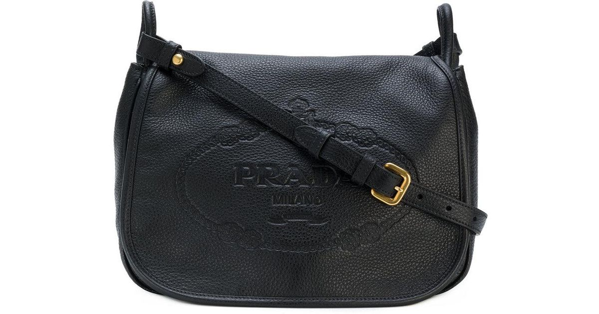 709884dcd8da Prada Logo Embossed Shoulder Bag in Black - Lyst