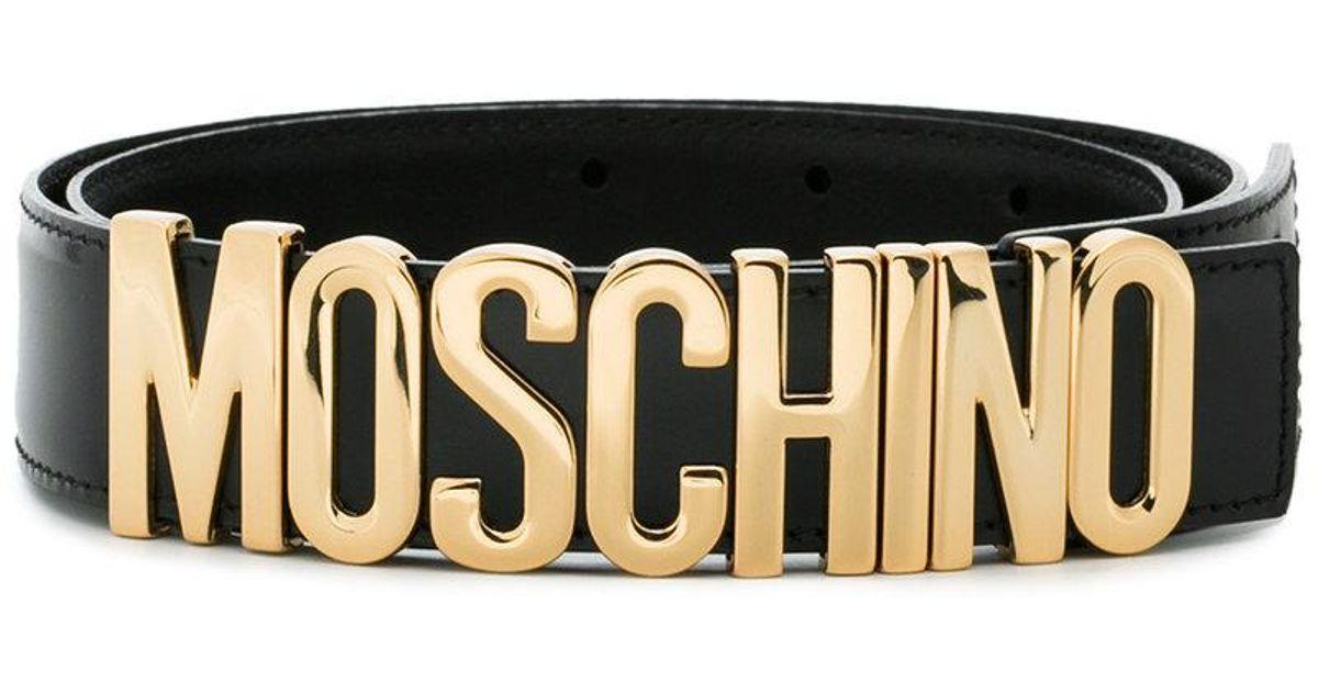 Lyst - Ceinture à plaque logo Moschino en coloris Noir dcf0f9fcc57