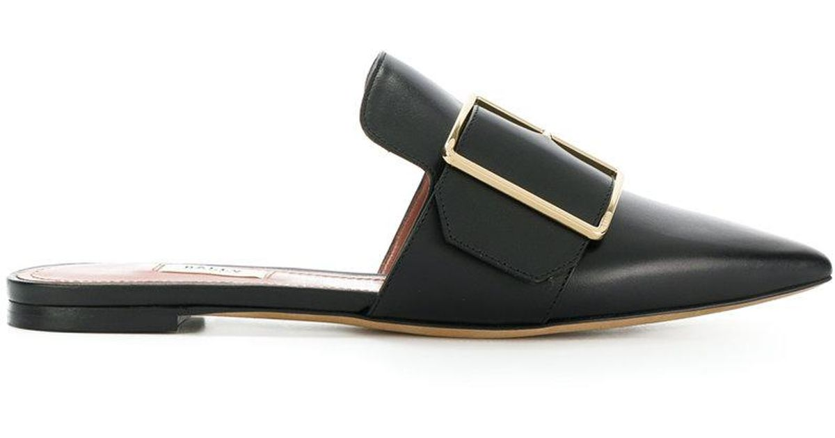 free shipping b3249 a1e8b bally-Black-Pointed-Buckle-Mules.jpeg