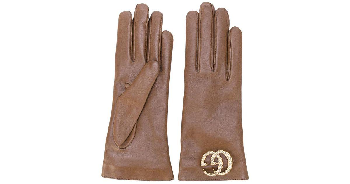Gucci Gg Logo Driving Gloves in Brown - Lyst 09e422a8cbb