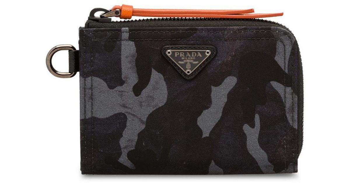 ddd65e492eee01 Prada Printed Nylon Wallet in Black for Men - Lyst