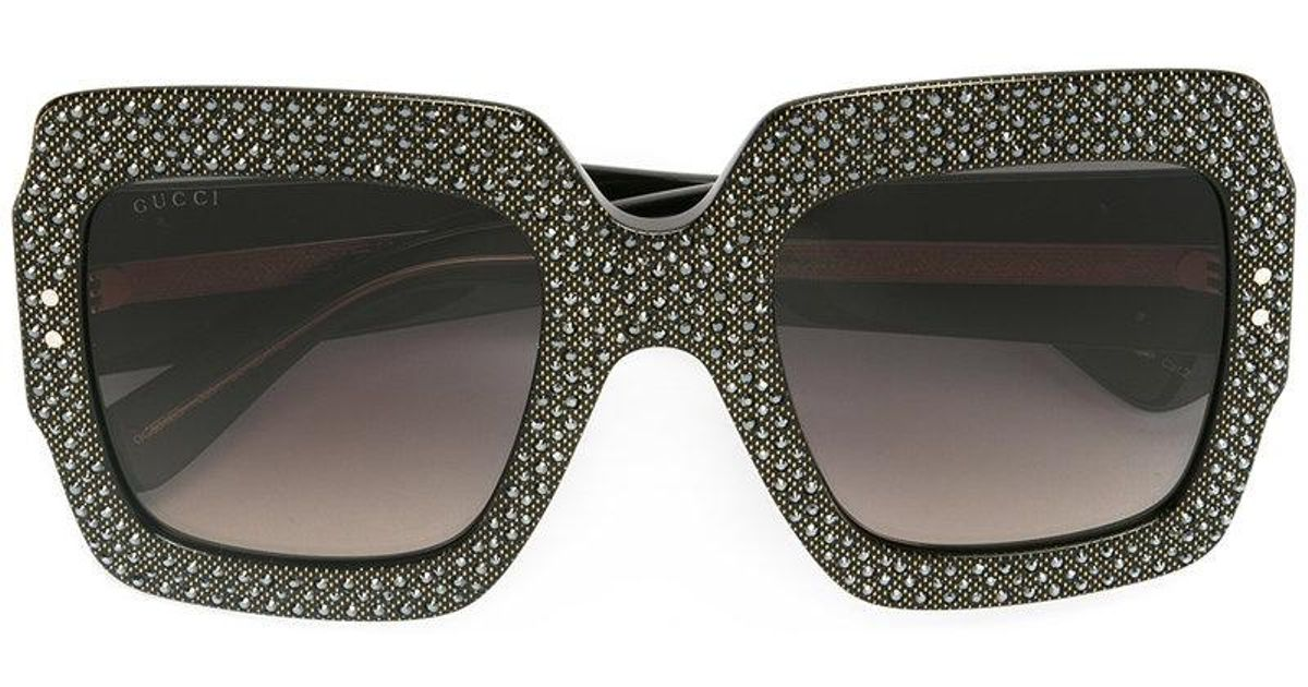 77f22811d8f Lyst - Gucci Oversize Crystal Square Sunglasses in Black