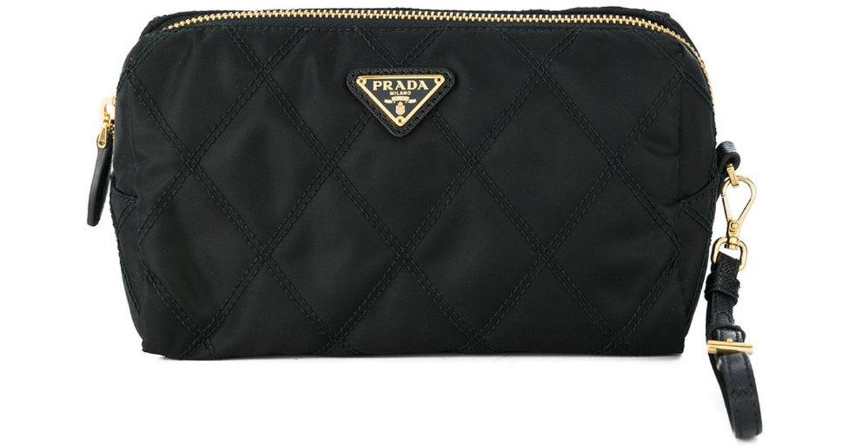 usa prada tessuto nylon cosmetic bag black 22697 18df8 444b3  sale lyst  prada quilted makeup bag in black 62ffb 9360e 764ad48bcd3a9