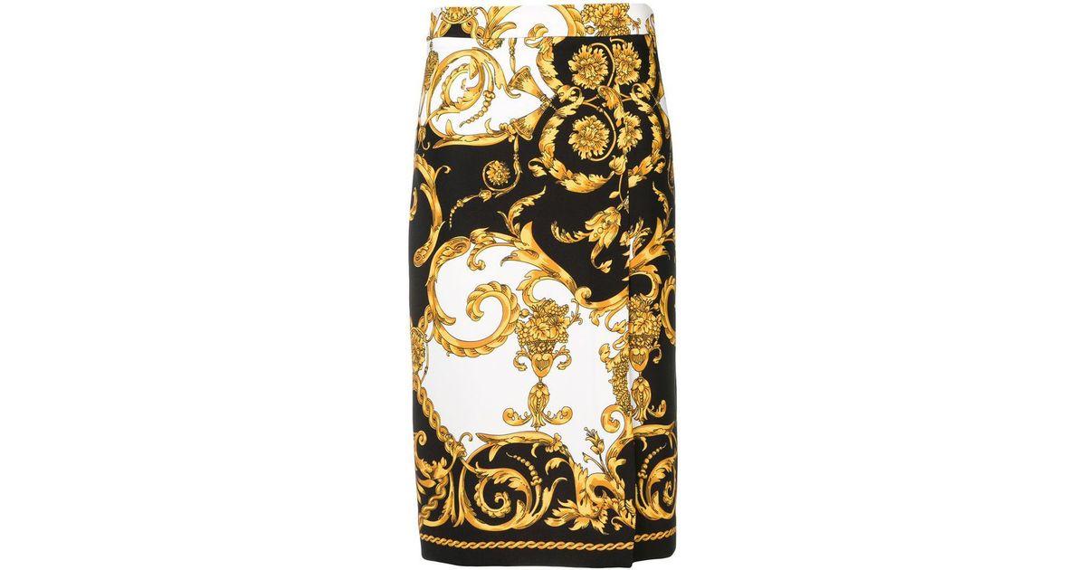 f475846a0c Lyst - P.A.R.O.S.H. Baroque Print Pencil Skirt in Black