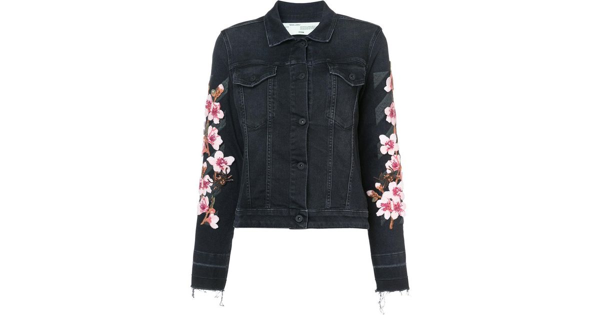 5b9da91f4b47 Lyst - Off-White c o Virgil Abloh Floral Embroidered Denim Jacket in Black