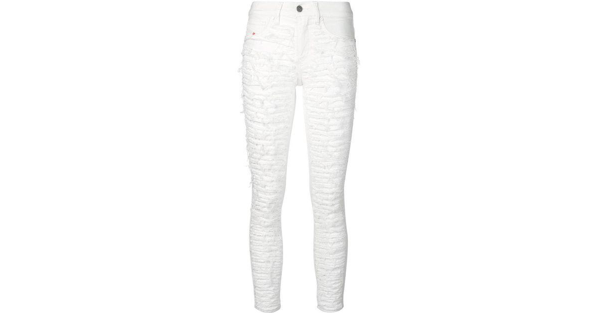 Rippés Pantalon Slim Avant - Diesel Blanc P5DusIjyw