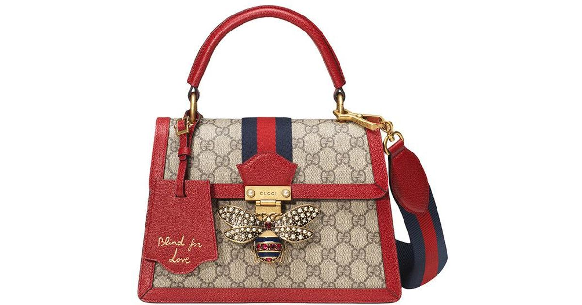 dcbcd7e8b Gucci Queen Margaret GG Small Top Handle Bag in Red - Lyst