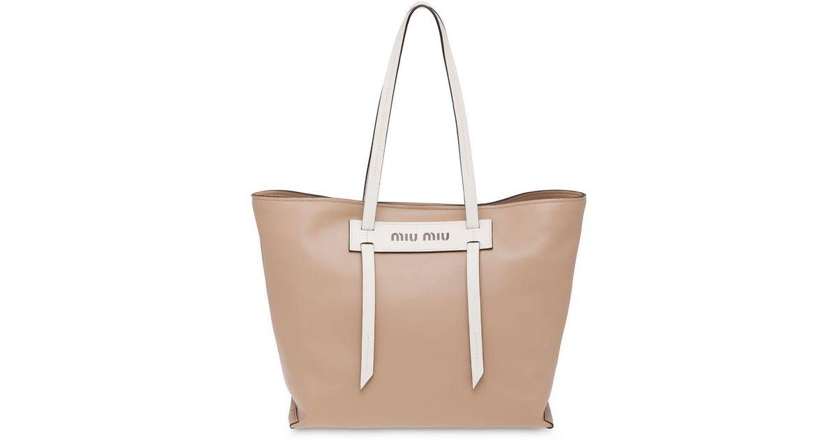 8de2c1e2130e Miu Miu Grace Lux Tote Bag - Lyst
