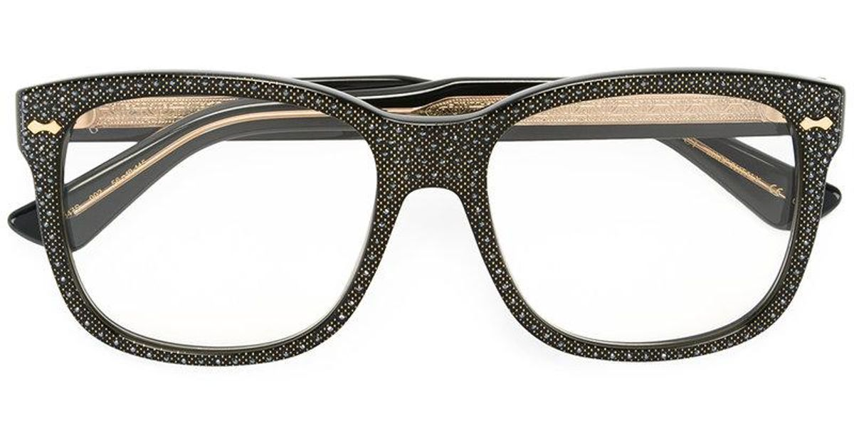 ee52f28a8421 Lyst - Gucci Square Frame Rhinestone Glasses in Black